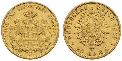 20 Марка Германская империя (1871-1918) Золото