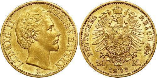 20 Марка Королевство Бавария (1806 - 1918) Золото Людвиг I (король Баварии)(1786 – 1868)