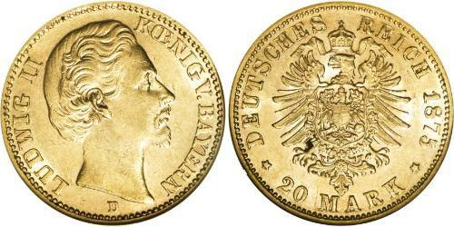 20 Марка Королевство Бавария (1806 - 1918) Золото Людвиг II (король Баварии)(1845 – 1886)