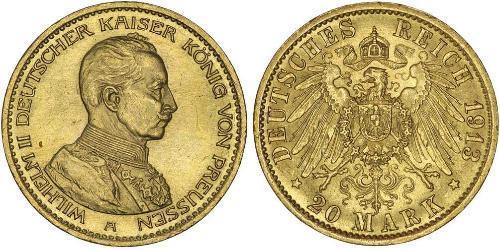 20 Марка Королівство Пруссія (1701-1918) Золото Wilhelm II, German Emperor (1859-1941)