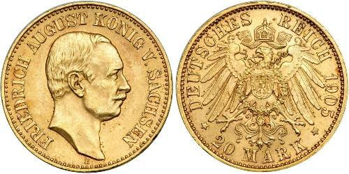 20 Марка Королівство Саксонія (1806 - 1918) Золото Frederick Augustus III of Saxony (1865-1932)