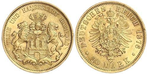 20 Марка Німецька імперія (1871-1918) Золото