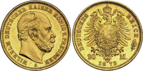 20 Марка Пруссия (королевство) (1701-1918) Золото Wilhelm I, German Emperor (1797-1888)