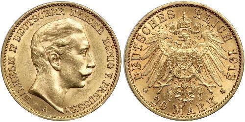 20 Марка Пруссия (королевство) (1701-1918) Золото Wilhelm II, German Emperor (1859-1941)