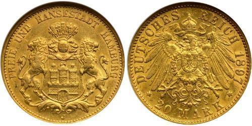 20 Марка Федеральные земли Германии Золото