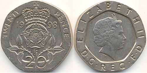 20 Пенни Великобритания (1922-) Никель/Медь Елизавета II (1926-)