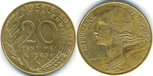 20 Сантим Пятая французская республика (1958 - ) Латунь