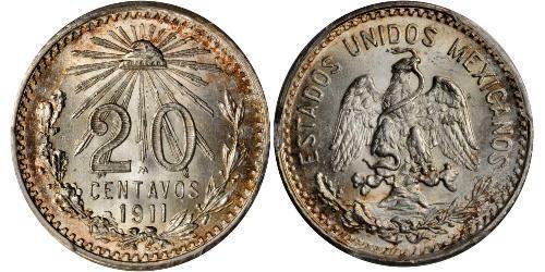 20 Сентаво Соединённые Штаты Мексики (1867 - ) Серебро