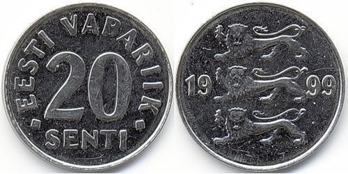 20 Сент Эстония (1991 - ) Никель/Сталь