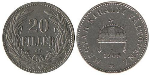 20 Филлер Королевство Венгрия (1000-1918) Никель