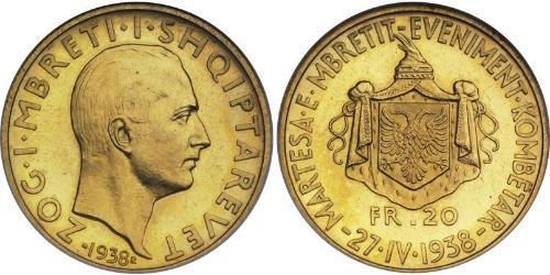 20 Франк Албанія / Королівство Албанія  (1928-1939) Золото Zog I, Skanderbeg III of Albania