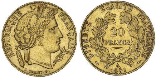 20 Франк Вторая французская республика (1848-1852) Золото