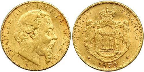 20 Франк Монако Золото Карл III князь Монако (1818-1889)