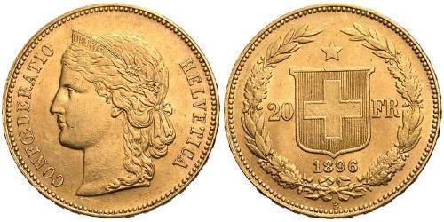 20 Франк Швейцарія Золото