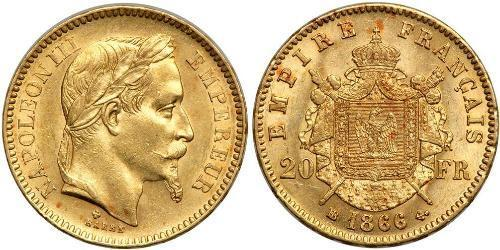 20 Франк Second French Empire (1852-1870) Золото Наполеон ІІІ Бонапарт (1808-1873)