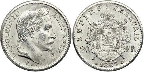 20 Франк Second French Empire (1852-1870) Платина Наполеон ІІІ Бонапарт (1808-1873)