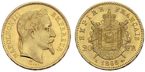 20 Франк Вторая французская империя (1852-1870)  Наполеон III Бонапарт (1808-1873)