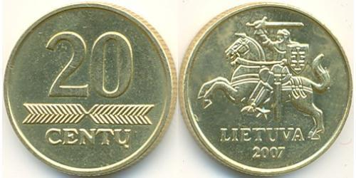 20 Цент Литва (1991 - ) Латунь
