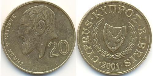 20 Цент Кипр (1960 - ) Никель/Латунь