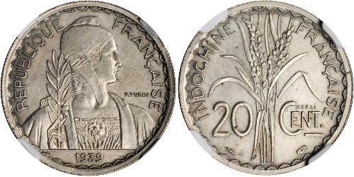 20 Cent French Indochina (1887-1954) 銅/镍