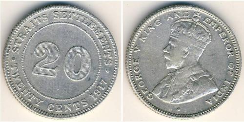 20 Cent Établissements des détroits (1826 - 1946) Argent George V (1865-1936)