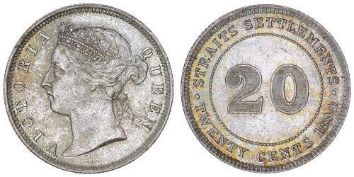 20 Cent Insediamenti dello Stretto (1826 - 1946) Argento Vittoria (1819 - 1901)