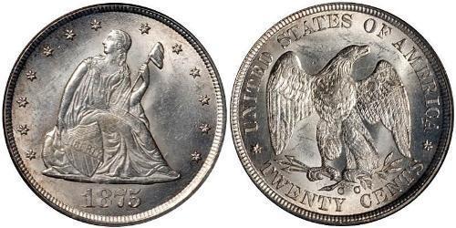 20 Cent Estados Unidos de América (1776 - ) Cobre/Plata