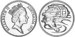 20 Cent Australia (1939 - ) Copper-Nickel Elizabeth II (1926-)