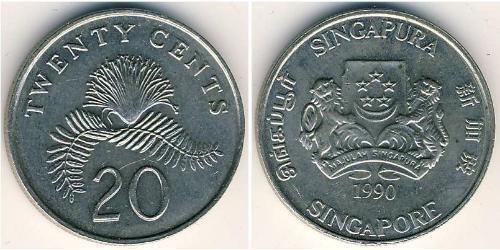 20 Cent Singapur Kupfer/Nickel