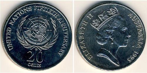 20 Cent Australia (1939 - ) Níquel/Cobre Isabel II (1926-)