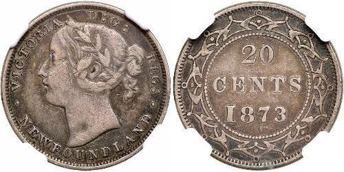 20 Cent Canadá / Terranova y Labrador Plata Victoria (1819 - 1901)