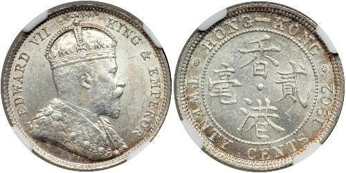 20 Cent Hongkong Silber Eduard VII (1841-1910)