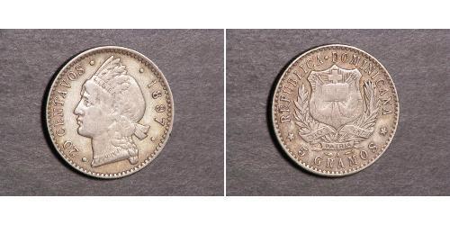 20 Centavo République dominicaine Argent