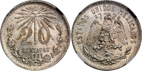 20 Centavo Messico Argento