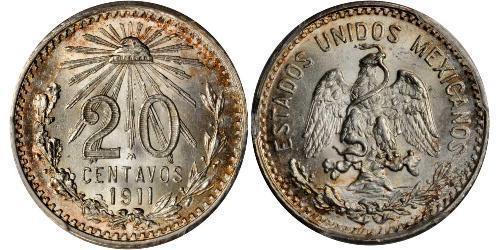 20 Centavo United Mexican States (1867 - ) Silver