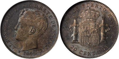 20 Centavo Porto Rico  Alfonso XIII of Spain (1886 - 1941)