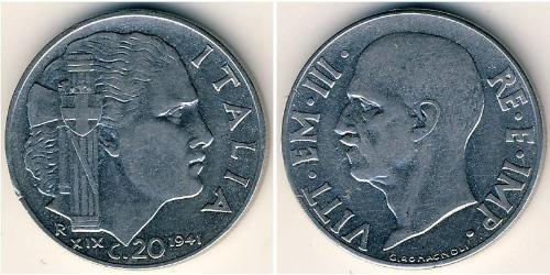 20 Centesimo Kingdom of Italy (1861-1946) Acier inoxydable