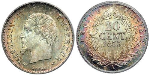 20 Centime 法蘭西第二帝國 (1852 - 1870) 銀 拿破仑三世