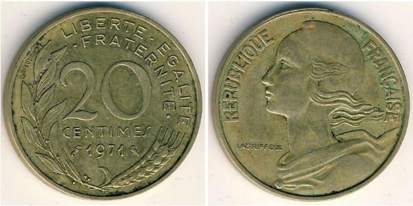 20 Centime French Fifth Republic (1958 - ) Aluminium-Bronze