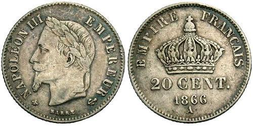 20 Centime Second French Empire (1852-1870) Silver Napoleon III (1808-1873)