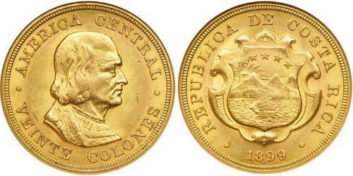 20 Colon Costa Rica 金 克里斯托弗·哥伦布