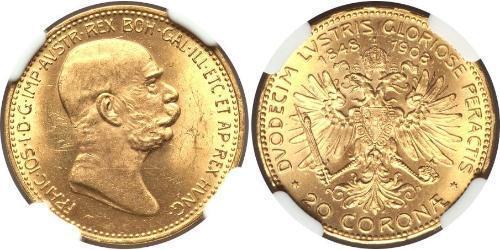 20 Corona Австро-Венгрия (1867-1918) Золото Франц Иосиф I (1830 - 1916)