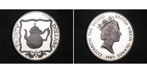 20 Dólar Islas Vírgenes Plata Isabel II (1926-)
