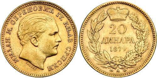 20 Denaro Serbia Oro Milan Obrenović IV di Serbia