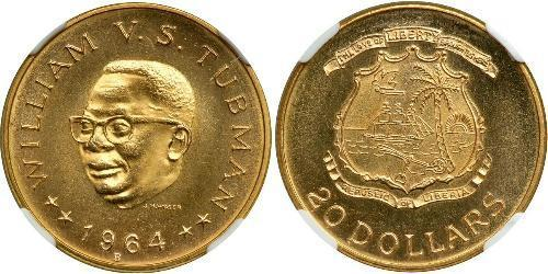 20 Dollar Liberia 金 William Tubman