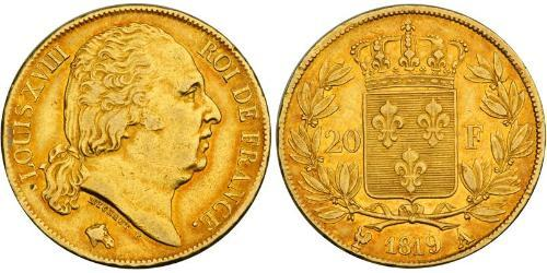 20 Franc 波旁复辟 金 路易十八 (1755 - 1824)