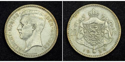 20 Franc Belgio Argento Alberto I del Belgio