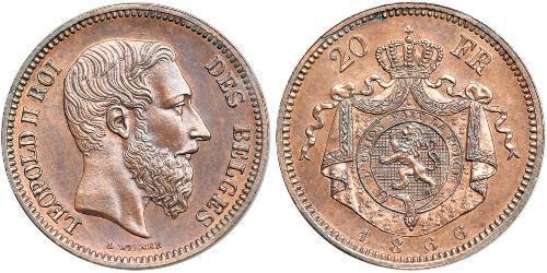 20 Franc Belgium Copper Leopold II of Belgium(1835 - 1909)