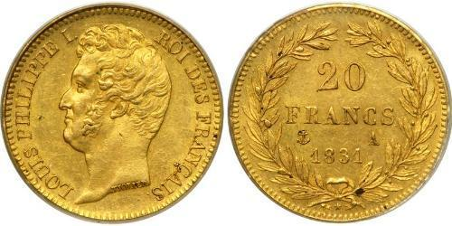 20 Franc July Monarchy (1830-1848) Gold Louis Philippe I of France (1773 -1850)