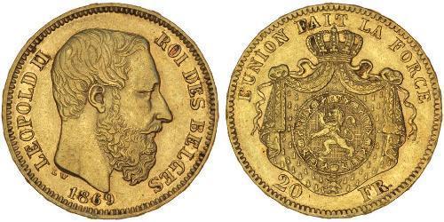 20 Franc Bélgica Oro Leopold II (1835 - 1909)